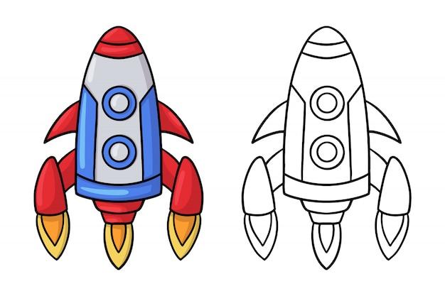 Doodle cohete espacial de dibujos animados.
