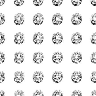Doodle de cojinete dibujado a mano de patrones sin fisuras. icono de estilo de dibujo. elemento de decoración. aislado sobre fondo blanco. diseño plano. ilustración vectorial.
