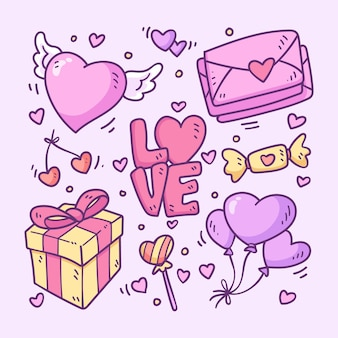 Doodle colección de artículos de san valentín