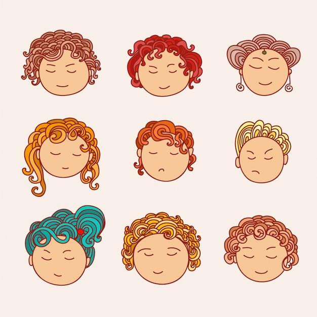 Doodle colección de avatares. elementos de diseño artístico. ilustración aislada en el fondo.