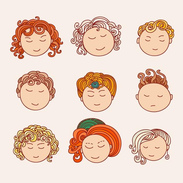 Doodle colección de avatares. elementos de diseño artístico. ilustración aislada