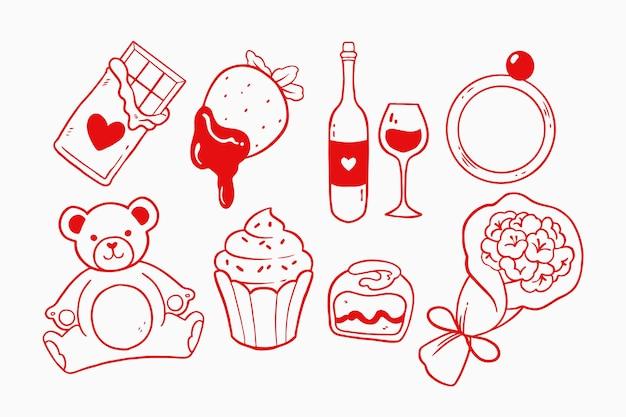 Doodle colección de elementos del día de san valentín