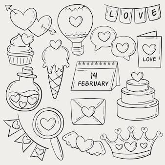 Doodle colección de elementos de san valentín