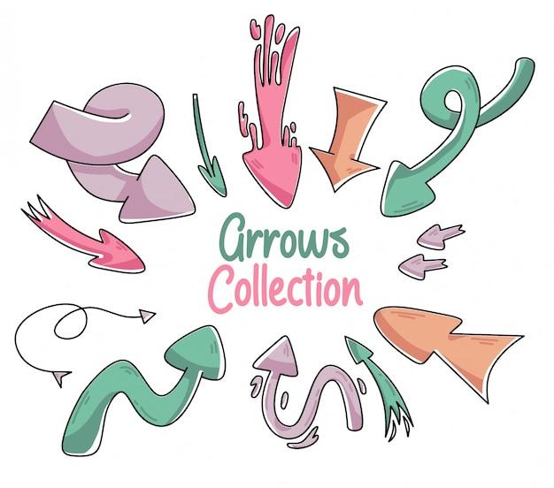Doodle de colección linda flecha