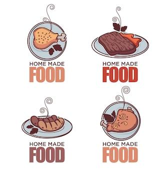 Doodle colección de logotipos de doodle de carne lineal