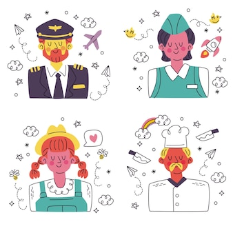 Doodle colección de pegatinas de avatar dibujadas a mano