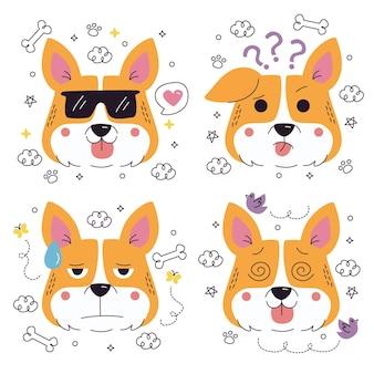 Doodle colección de pegatinas de emoticonos de perros dibujados a mano