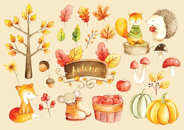 Doodle de color de agua de la temporada de otoño