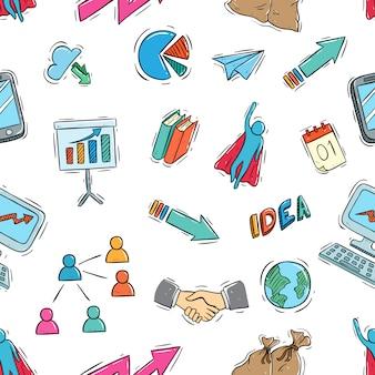 Doodle color estilo de elementos de negocios en patrones sin fisuras