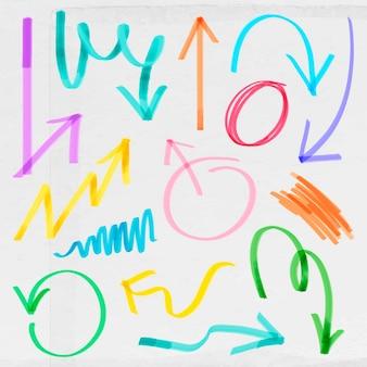 Doodle colorido conjunto de vectores de flecha resaltada