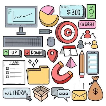 Doodle de comercio de internet de plan de negocios