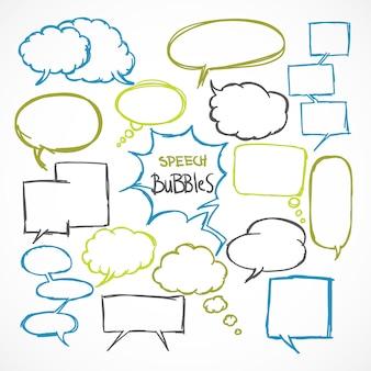 Doodle comic discurso burbujas conjunto