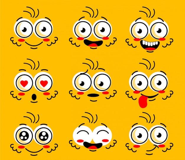 Doodle cómico sonrisa cara, enojado, triste, corte
