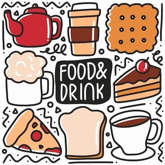 Doodle de comida y bebida dibujados a mano con iconos y elementos de diseño
