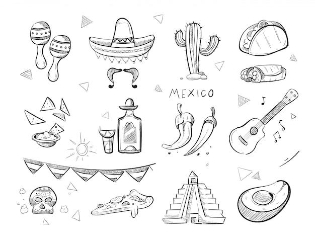 Doodle de comida mexicana, tequila.