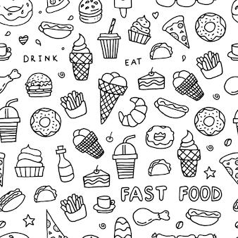 Doodle de comida rápida en blanco y negro