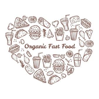 Doodle de comida rápida orgánica en forma de corazón. ilustración dibujada a mano