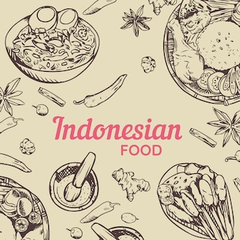 Doodle de comida tradicional indonesia handrawn