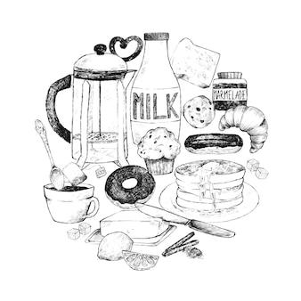 Doodle conjunto de alimentos para el desayuno.