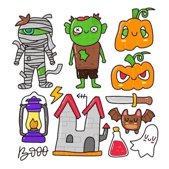 Doodle conjunto de colección de elementos de halloween sobre fondo blanco aislado.