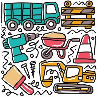 Doodle conjunto de construcción manual, herramientas de elementos con iconos y elementos de diseño