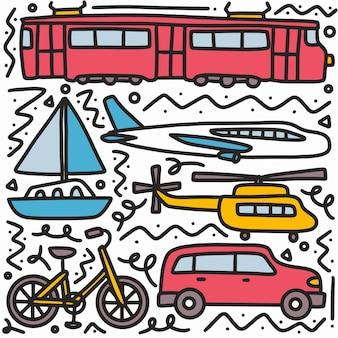 Doodle conjunto de dibujo a mano de transporte con iconos y elementos de diseño