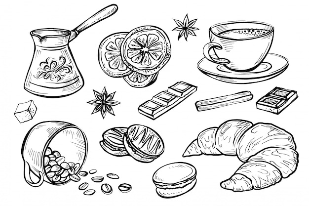Doodle, conjunto de dibujos de café