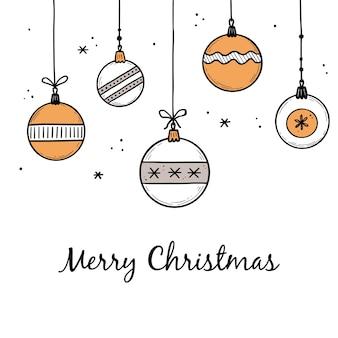 Doodle conjunto de elementos de bola de navidad. bola de estilo boceto dibujado a mano. adorno navideño lindo para borde, diseño de fondo con lugar de texto. ilustración de vector aislado.