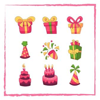 Doodle conjunto de elementos de cumpleaños