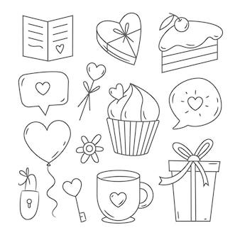Doodle conjunto de elementos del día de san valentín