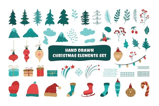Doodle conjunto de elementos de navidad, aislado sobre fondo blanco.