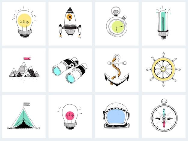 Doodle conjunto de estrategia empresarial