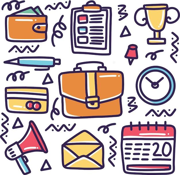 Doodle conjunto de herramientas de negocios dibujo a mano con iconos y elementos de diseño