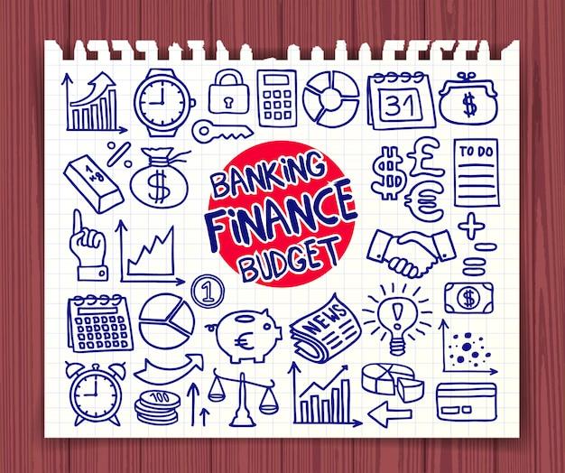 Doodle conjunto de iconos de finanzas, banca y presupuesto