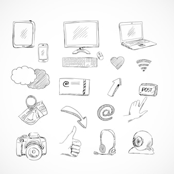Doodle conjunto de iconos de redes sociales de comunicaciones de red para blog aislado
