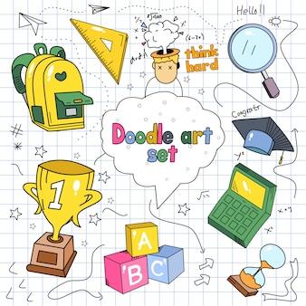 Doodle conjunto ilustración vectorial sobre fondo de papel