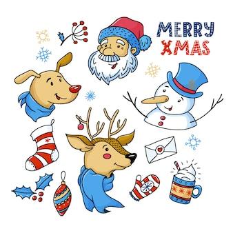 Doodle conjunto de lindos personajes navideños y cosas