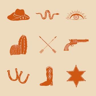 Doodle conjunto de logotipo de vaquero
