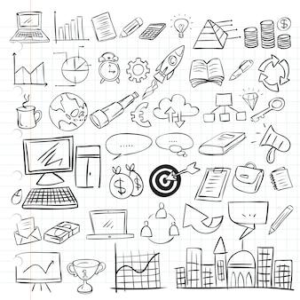 Doodle conjunto de negocios