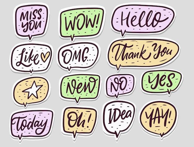 Doodle conjunto de palabras de diálogo de burbujas de discurso