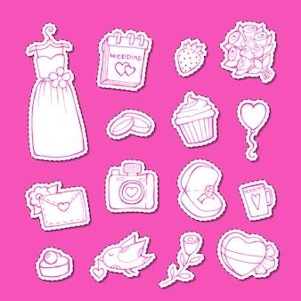 Doodle conjunto de pegatinas de elementos de boda ilustración