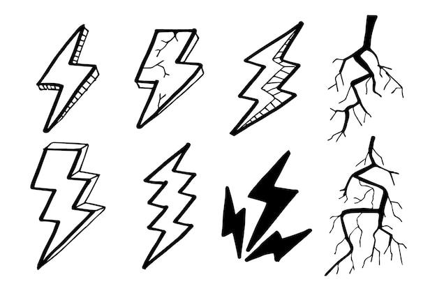Doodle conjunto relámpago arte lineal, trueno, ilustración vectorial.