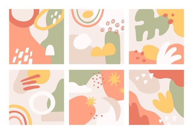 Doodle conjunto de tarjetas abstractas