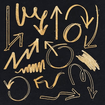 Doodle conjunto de vector de flecha de resaltado de oro