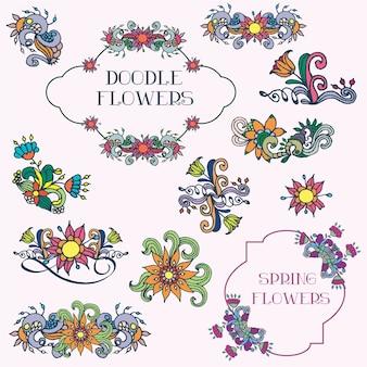 Doodle conjunto de vectores de flores