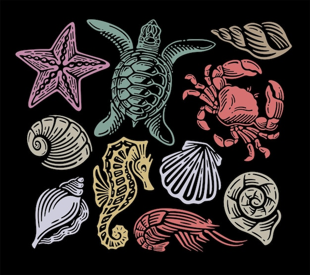 Doodle conjunto vintage de animales bajo el mar