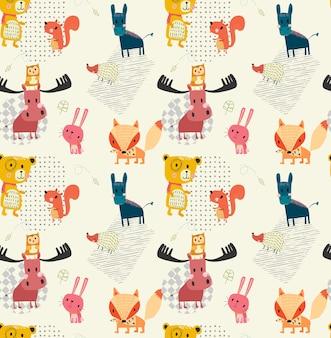Doodle contorno lindo animal salvaje patrón transparente
