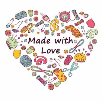 Doodle corazón de costura y costura.