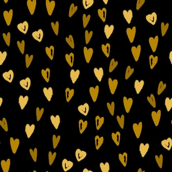 Doodle corazones dibujados a mano de patrones sin fisuras. textura de fondo moderno para papel de regalo, diseño textil y papel tapiz. ilustración vectorial