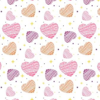 Doodle corazones de patrones sin fisuras